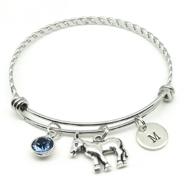 Donkey bangle bracelet gift personalised initial & birthstone